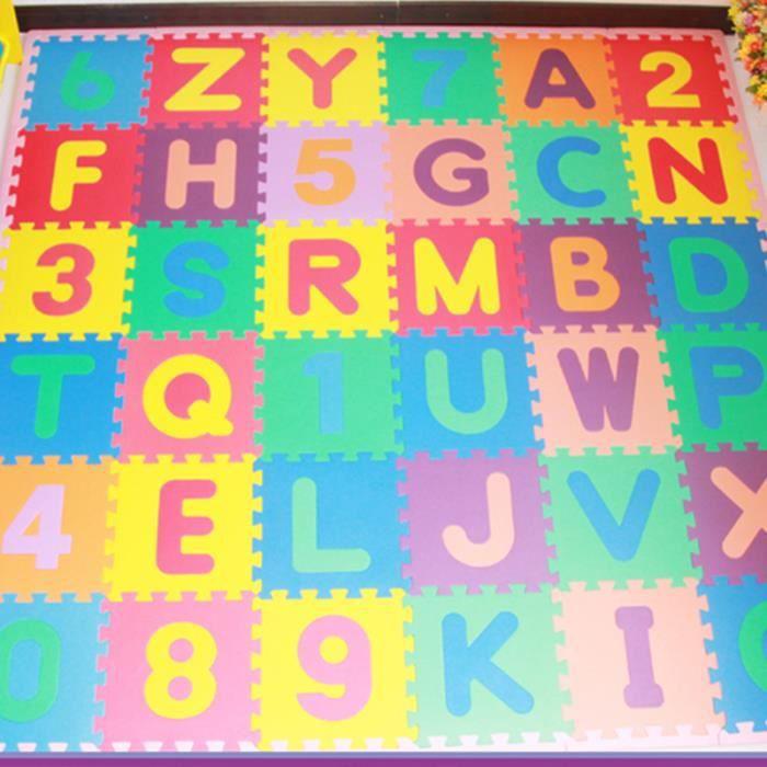 Tapis mousse b b alphabet et chiffres 36 pi ces 36 dalles 30 30 cm enfant ba - Tapis mousse alphabet ...
