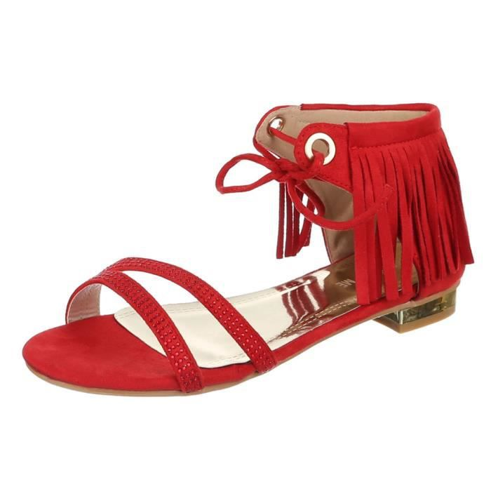 Chaussures femmes sandales STRASS OCCUPÉ s'effilocher rouge hvDXz