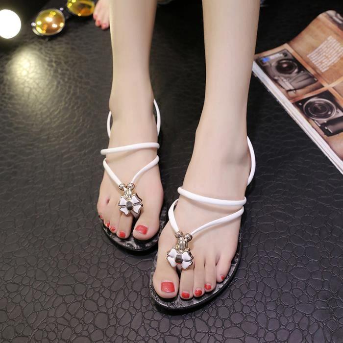 GLAM® les chaînes en métal chaussures chaussures à talons plats tongs flats beach gV5VUc
