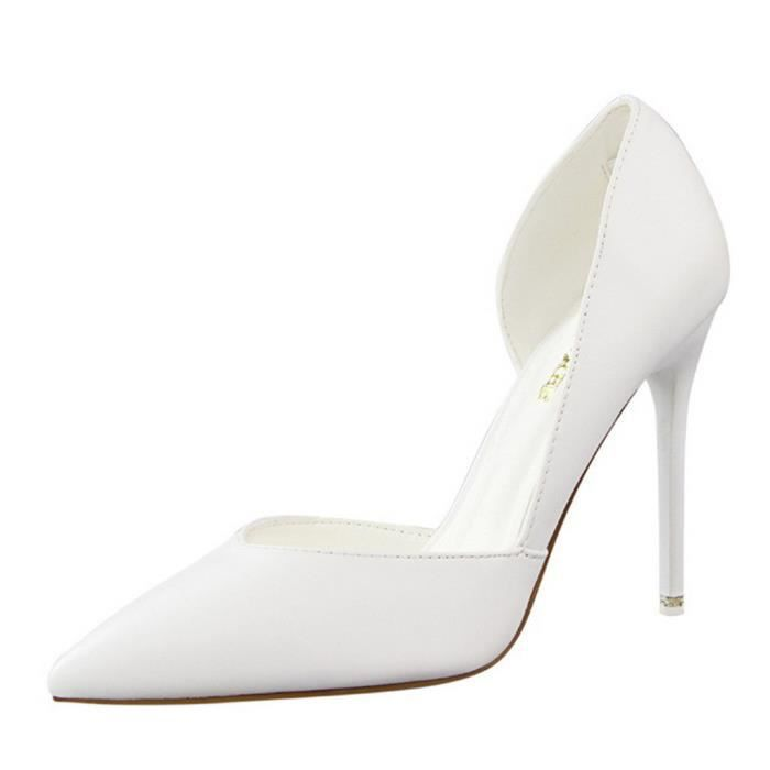 Minetom Femme Doux Escarpins Sexy En PU Verni Talon Aiguille Haut Chaussures Mariage Pumps Stiletto
