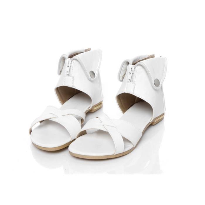 Sandales femme plat mode dos Fermeture éclair été plus taille 34-43