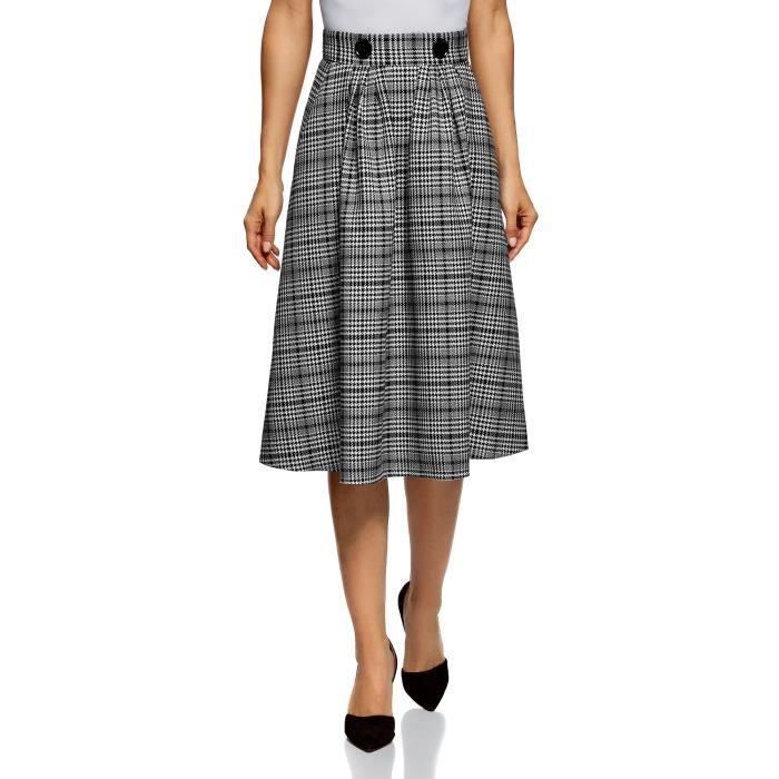 ddff6aa24 Women's Checkered Midi Skirt In Heavyweight Fabric With Pockets ...
