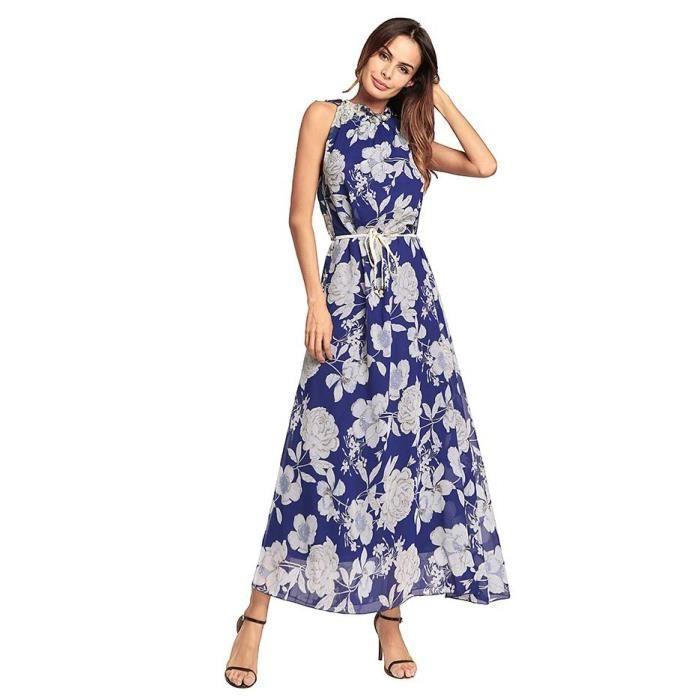 femme robe longue ete imprim boheme plage de vacances mousseline floral robe elegante sans. Black Bedroom Furniture Sets. Home Design Ideas