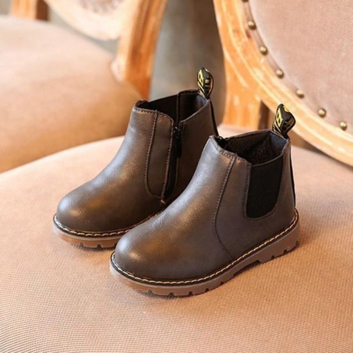 42890d4ec06f6 Printemps Automne Enfants Chaussures Toddler Garçons Filles Bottes Retro En  Cuir Martin Bottes Enfants Bottes 21-36