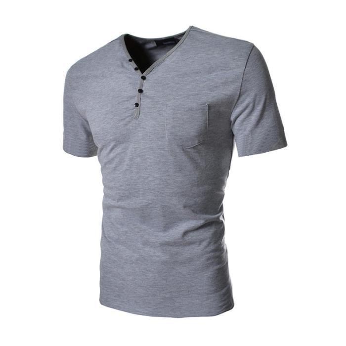 e6899bcf872e T shirt Homme col V pas cher en poche unique avec col boutonné slim ...
