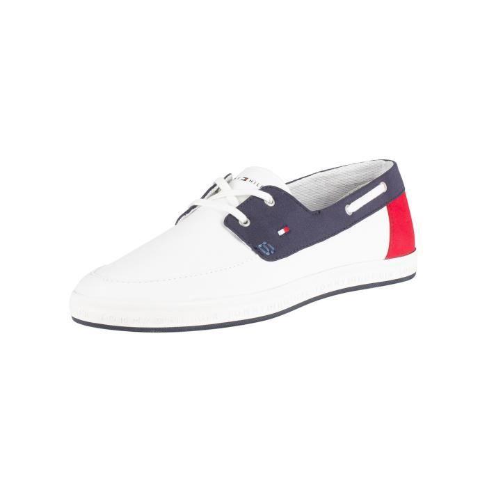 Tommy Hilfiger Homme Chaussures de bateau saisonniers, Blanc