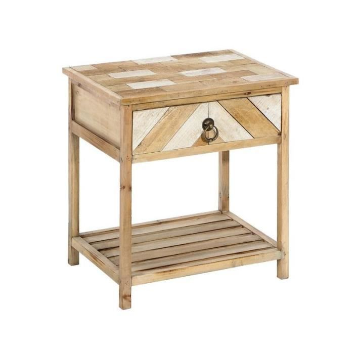 Table De Chevet Bois Clair Aspect Lambris Parkets L 47 X L 35 X
