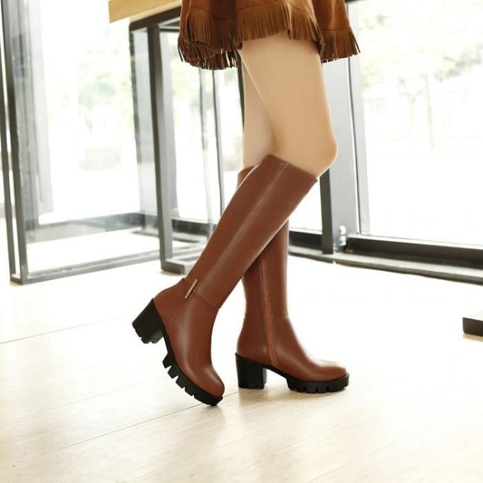 bottes martin-Pure Color talon épais de femmes ... SNboXA5RG