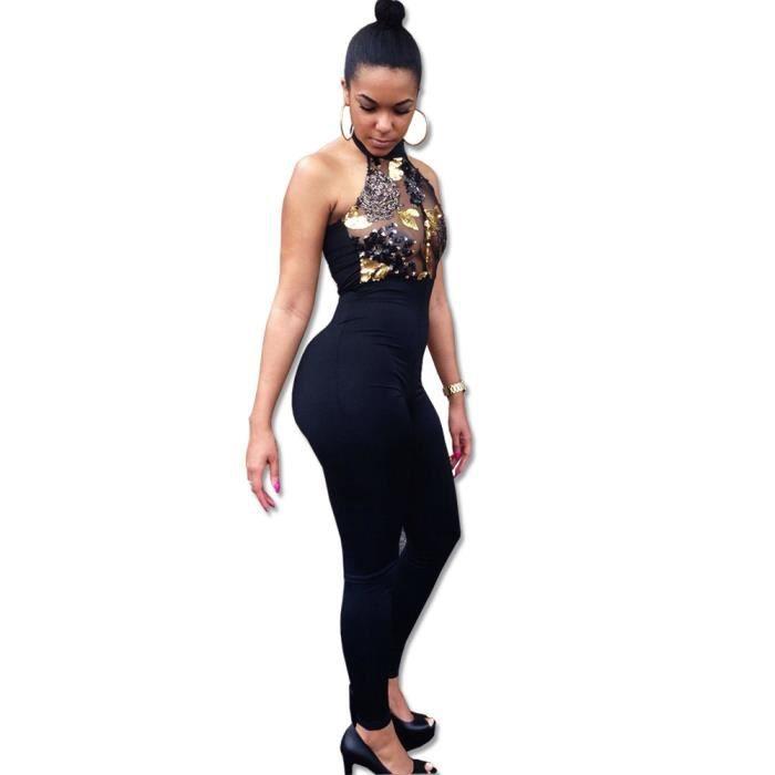 Dos Pantalons Combinaisons Noir Ljl80312133 Perles Taille Femmes Nu Haute Fashion Salopettes wI6aq6