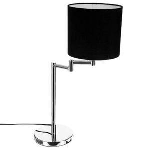 LAMPE A POSER Lampe metal chromé abat jour noir hauteur 54cm