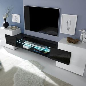 MEUBLE TV Meuble tv design blanc et noir laqué LUXOR  Avec é