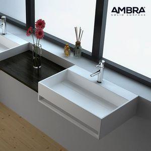 Lavabo Suspendu En Solid Surface 50 Cm Cork Blanc Achat Vente