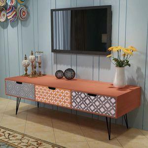 SALON DE JARDIN  Meuble TV avec 3 tiroirs 120 x 40 x 36 cm marron