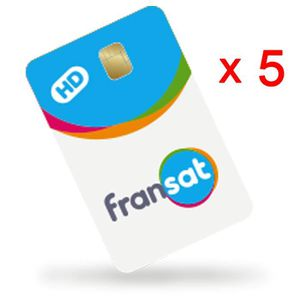 RÉCEPTEUR - DÉCODEUR   Lot de 5 cartes FRANSAT HD PC6 Valable à vie