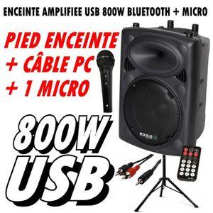 PACK SONO SLK15A-BT 800W ENCEINTE + MICRO + PIED + CÂBLE PC