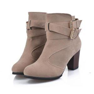 Dames Automne Hiver Bottes À Talons Plat Plate-Forme Bottes En Laine Épaisse Femmes Chaussures marron MMaiCppwSh