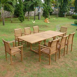 Teck Line table de jardin +8 fauteuils empilables - Achat ...