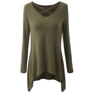 T-SHIRT Vbiger T-shirt à Encolure Décontractée Pour Femme