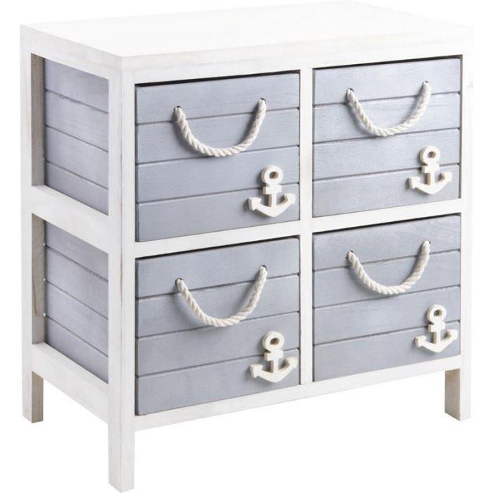 commode 4 tiroirs marina en bois et corde 48x29 achat vente commode de chambre commode 4. Black Bedroom Furniture Sets. Home Design Ideas