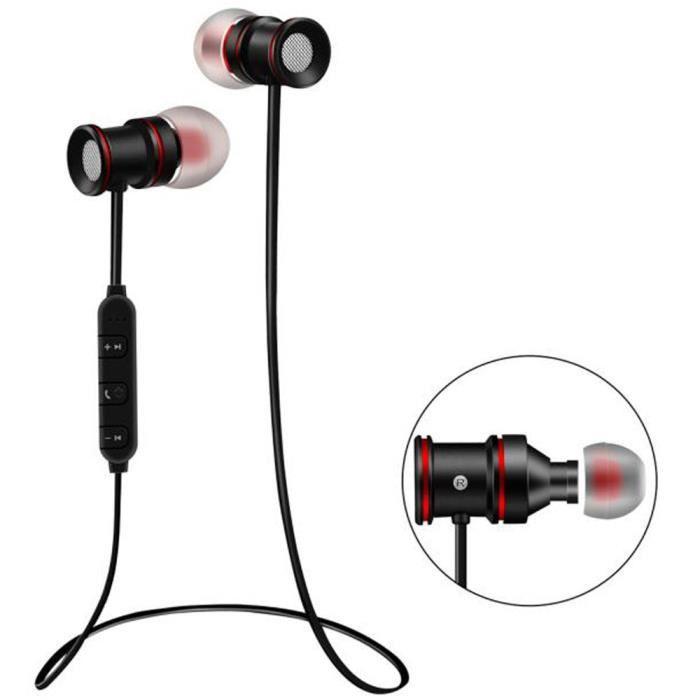 Casque Bluetooth Sans Fil Avec Microphone Et Aimant Activité Sports Bk Q40