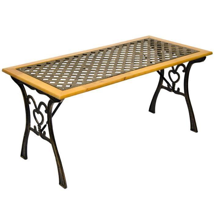 Table Basse de jardin en bois et fonte - Achat / Vente table basse ...