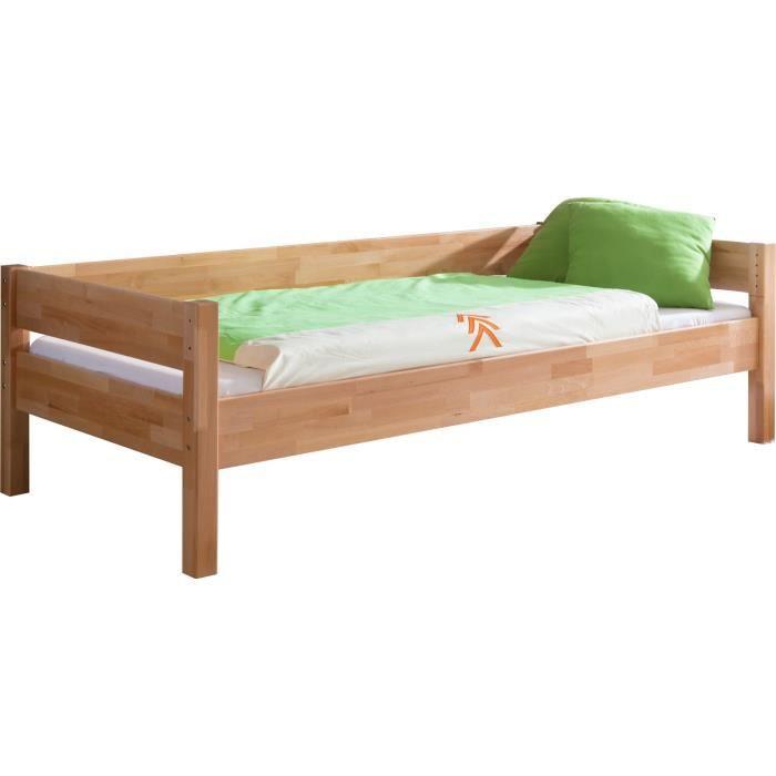 lit banquette avec sommier 90x200 cm en bois h tre massif h tre achat vente lit combine lit. Black Bedroom Furniture Sets. Home Design Ideas