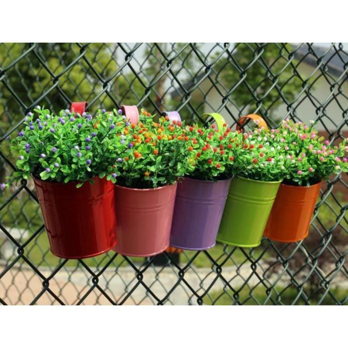 6pcs Pots de Fleurs Pot Plante Suspendu Pots Fleur Métal Fer Balcon . 7f844120320