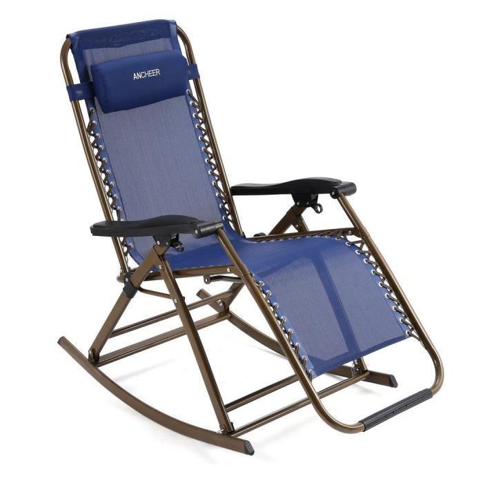 Chaise longue inclinable pliante pour jardin extérieur couleur bleu ...