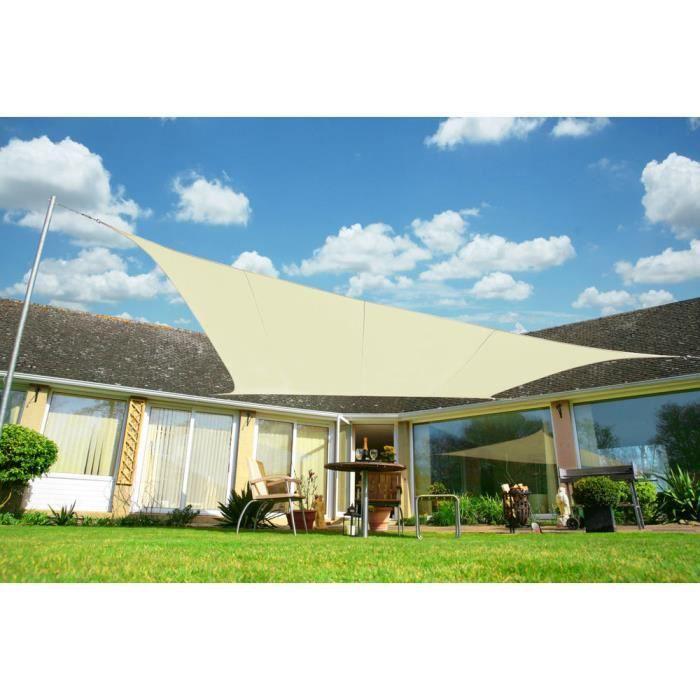 voile d 39 ombrage ivoire rectangle 5x4m ajour e 320g m2. Black Bedroom Furniture Sets. Home Design Ideas