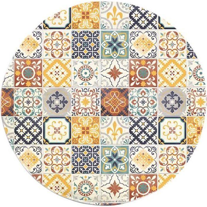 tapis rond motifs carreaux de ciment jaune diam 60cm. Black Bedroom Furniture Sets. Home Design Ideas