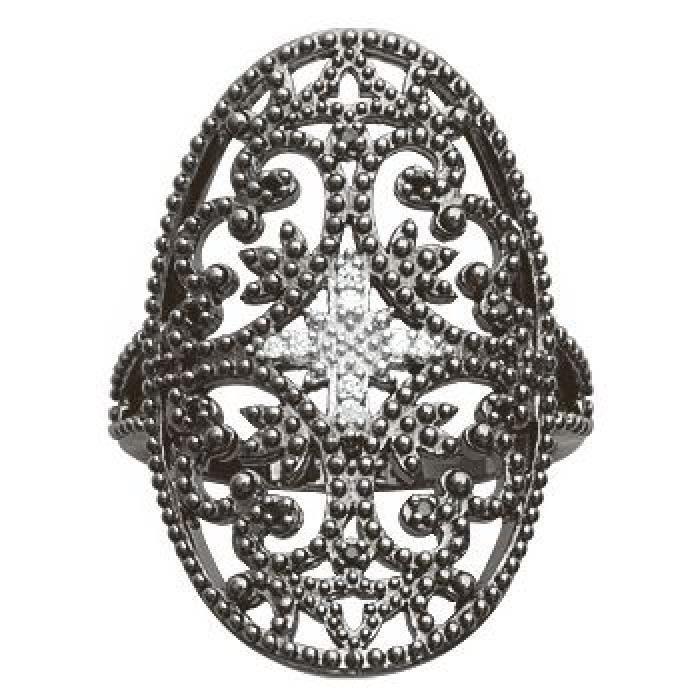 Bague Anneau Ovale Ciselé Zirconia Noir Argent