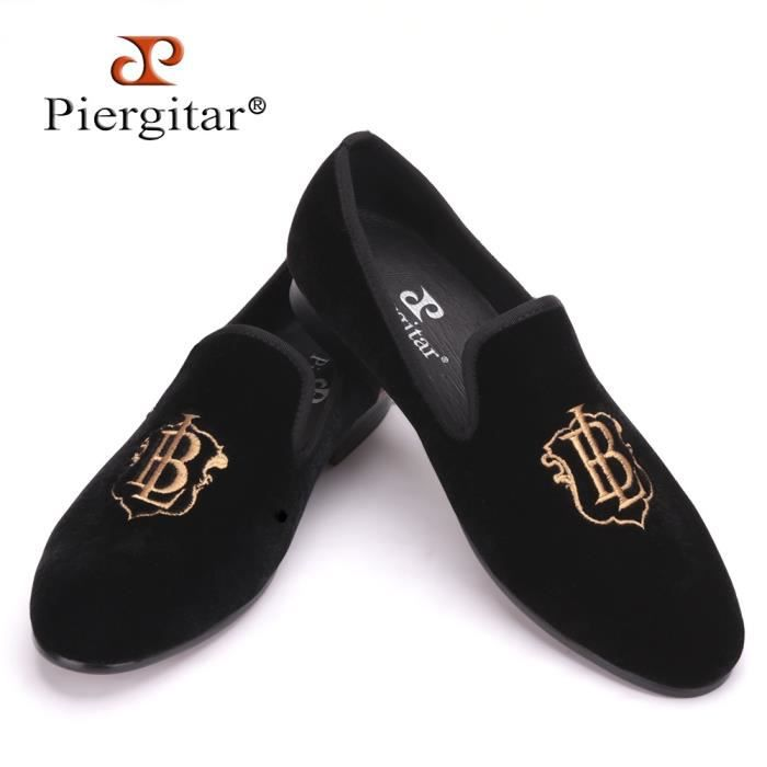 New Style Mode Hommes Mocassins Or broderie main Parti velours Chaussures Hommes et mariage plat hommes