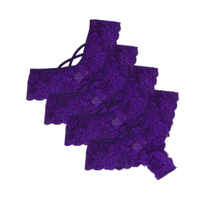 Xxxl vêtements Thongs Fleurs Sexy Culottes Femmes Violet 4pc Dentelle Lingerie Basse Taille string Sous G 0UCR6q