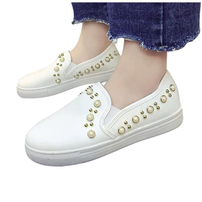 Mocassin Femme Cuir Style Casual Plate Confort A Perle