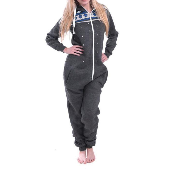 Gris Pyjamas Manches Snow Printed Mesdames Nuit Femmes À De Foncé Longues Vêtements Capuche Jumpsuit fqxw6F7