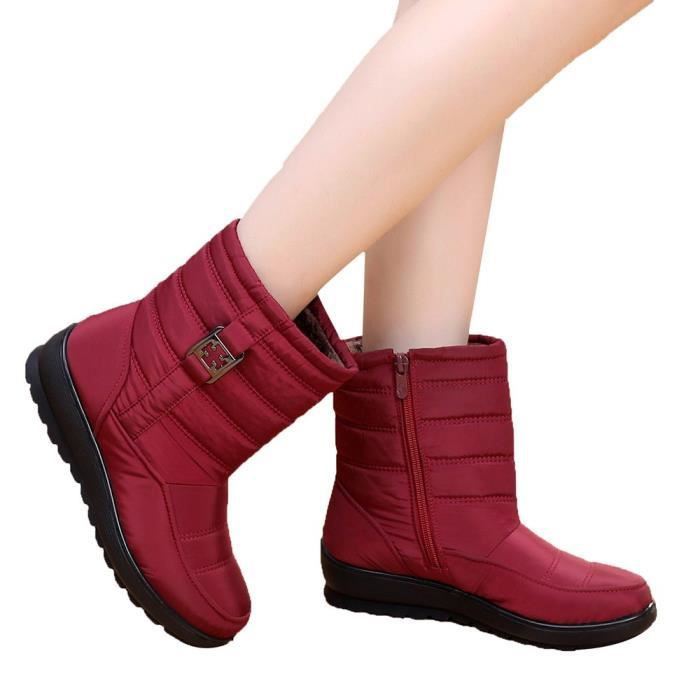Moyen Hiver Chaussures Neige Bottes Femme Chaud Rouge aged Boot Bottine Casual Femmes xAnzA4fqwZ