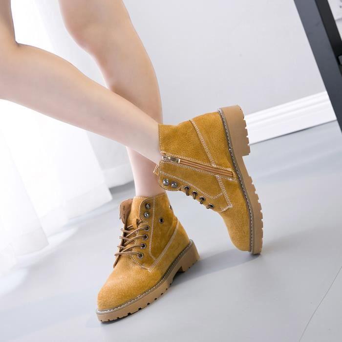 Femme cheville lacet Martin bottes chaussures cuir