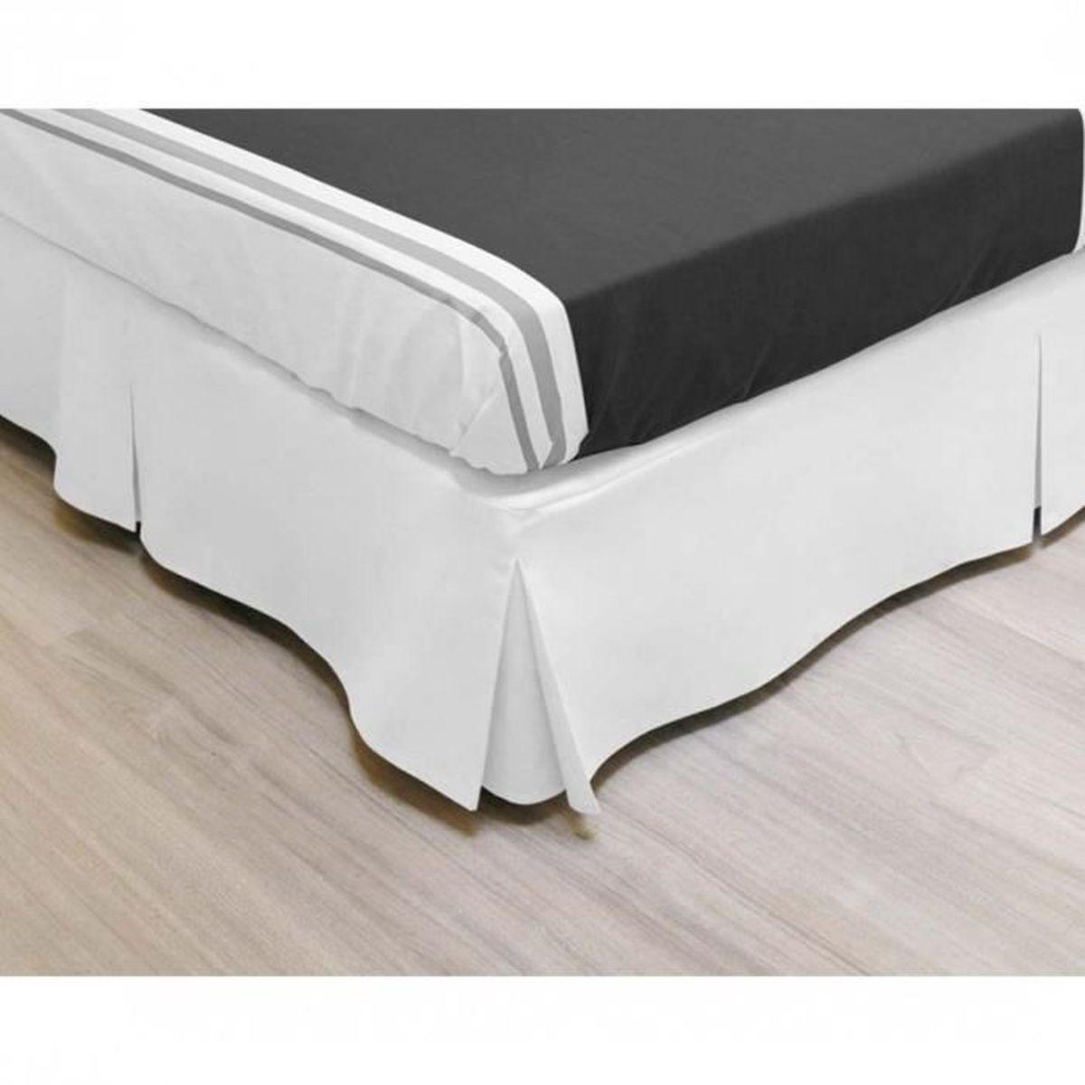 Cache Sommier Intégral Microfibre Blanc 140x190   Achat / Vente