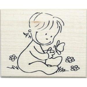 TAMPON DÉCORATIF Tampon bois naissance bébé papillon 5 x 6 cm