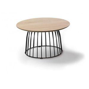 TABLE BASSE Table basse ronde 60cm en bois de chêne et pieds m