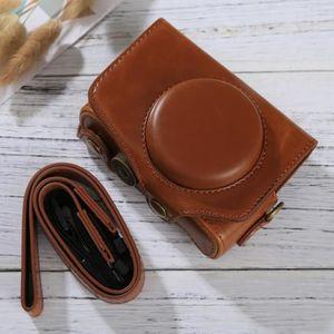 COQUE - HOUSSE - ÉTUI Etui en cuir appareil photo marron pour Canon Powe