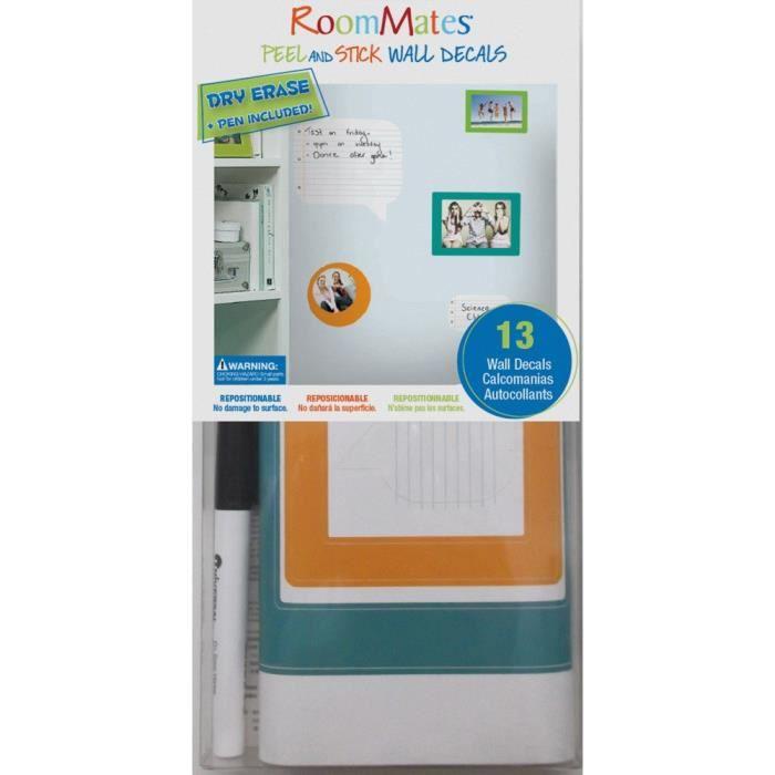 ROOMMATES Lot de 13 stickers CADRES PHOTOS et bloc notes repositionnables avec feutre effaçable 4 feuilles de 10,1cm x 44,1cm