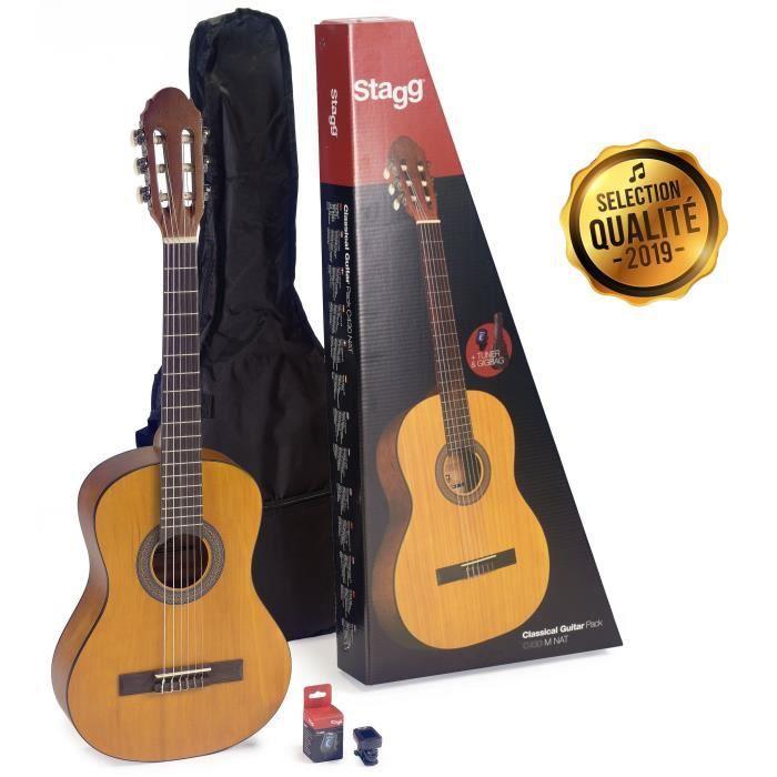 STAGG C440 M NAT PACK Pack comprenant 1 guitare classique 4/4 de couleur naturelle - 1 accordeur - 1 housse