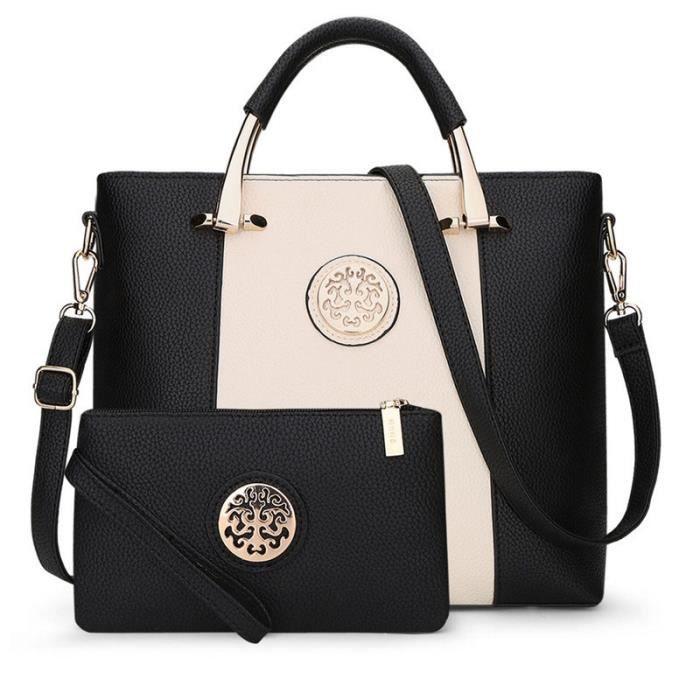 sac à maindes femmes PU cuir qualité mis en crossbody - Sac composite Grande dames Capacité Totes Marque Litchi sac de modè-1890