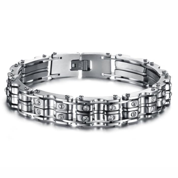 Bracelet homme acier diamant