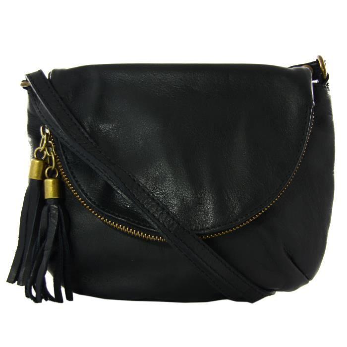 Fabuleux petit sac bandoulière femme en cuir noir 18 cm x 23 cm - Achat  JB08