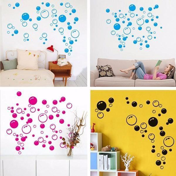 Autocollant adh sive mur chambre salon diy d co mural sticker bulle motif design rose achat - Diy deco salon ...