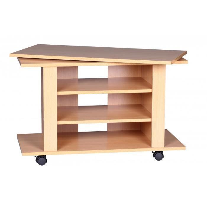 meuble tv coloris h tre avec plateau pivotant et 2 tag res mont sur roulettes achat vente. Black Bedroom Furniture Sets. Home Design Ideas