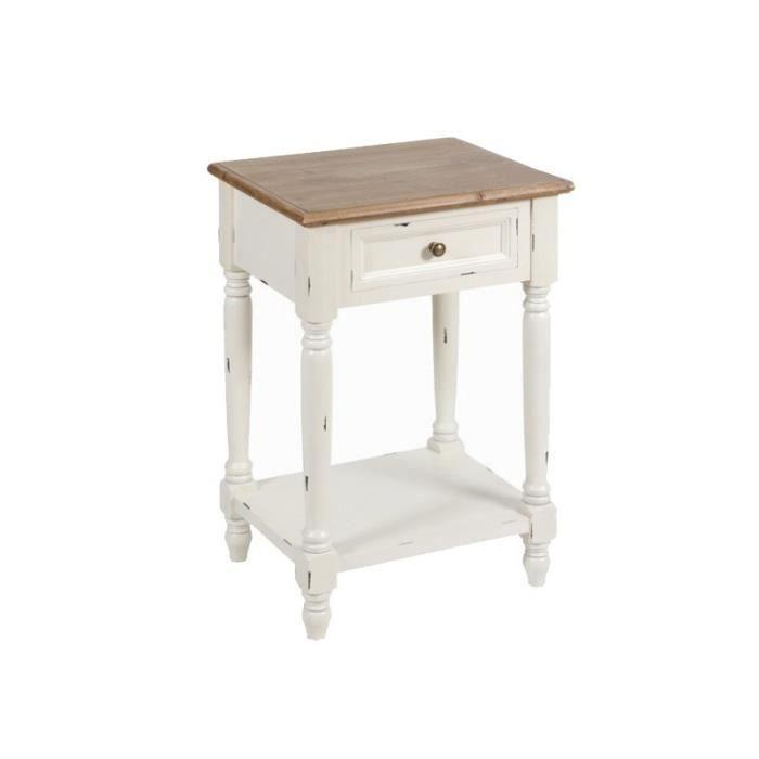chevet table de chevet bois naturel et blanc us romantiq