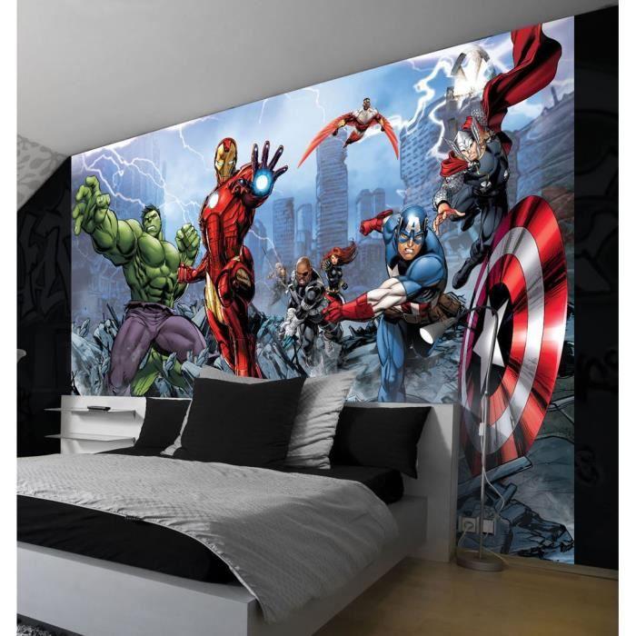 fresque murale comics 104x70 5 cm marvel avengers pour d co murale achat vente papier peint. Black Bedroom Furniture Sets. Home Design Ideas